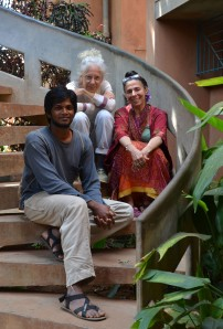 From left, Vinu Karthick, portraying Romeo in Romeo and Juliet, Jill Navarre, artistic director of the Auroville Theatre Group and Livia Drapkin Vanaver of the The Vanaver Caravan, a dance and music company.